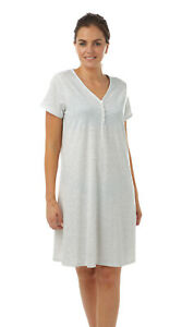 LADIES*V NECK GREY MARL POLY/VISCOSE JERSEY NIGHTSHIRT LARGE/SIZE 26/32  IN07486