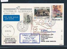67422) LH FF muscat oman-dubai emiratos árabes unidos 26.10.98, card Chipre Cyprus R!