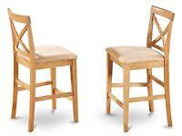 Set of 4 pub counter height bar stool chairs w/ microfiber padded seat light oak