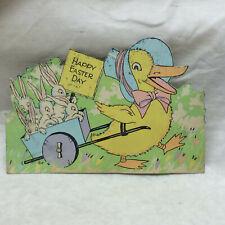 Vintage 1934 Easter Card Duck Pulling Cart of Bunnies