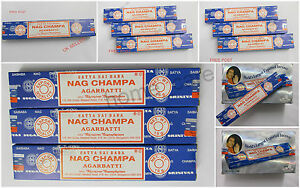 NAG CHAMPA SATYA INCENSE STICKS DHOOP JOSS GENUINE15G 1 OR 3 PACKS FREE POST