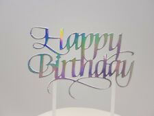 HAPPY BIRTHDAY CAKE PICK TOPPER DECORATION HOLOGRAPHIC MIRROR  CALLIGRAPHY