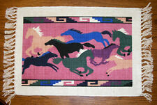 "Set of 6 Placemats Running Horses 13x19"" Canvas New Turn em Loose design"