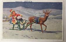 Vintage Christmas Postcard Woman In Sledge With Presents Reindeer In Snow