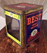 Best Fancy Oranges Vtg 1950s Window Front Tin Litho Advertisng Box Vista CA