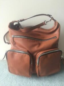 COUNTRY ROAD Chestnut Leather Triple Front Pocket XL Hobo Bag BNWOT