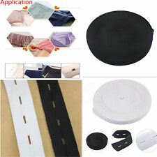 10mx20mm Button Hole Knit Elastic Band Sewing Fabric Ribbon Craft Black White