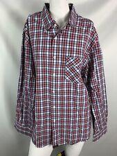 billy reid mens shirt xl long sleeve button down red white blue cotton plaid