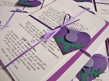 Handmade Personalised Ribbon Tied Scottish Thistle Wedding Invitation Sample