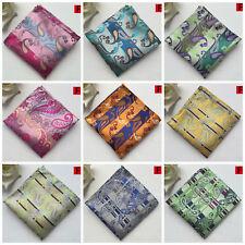 Pink Blue Green Orange Yellow Silver Patterned Pocket Square Silk Handkerchief