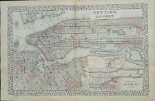 Map of New York and Brooklyn Augustus Mitchell c 1881.