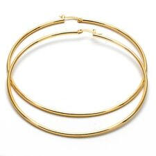 Extra Large Real Gold Plated Round Hoop Earrings 14k Gold layered (80mm x 3mm)
