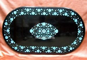 24 x 48 Inches Marble Coffee Table Top Inlay Kitchen Table with Turquoise Stone