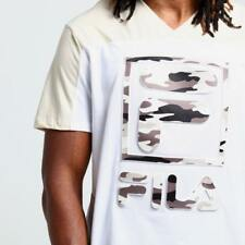 FILA X Embossed Spliced Tee White / Camo Large Size - Australia Only