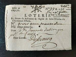 billet loterie Royale 20 sols pour l'église de Saint Nicolas du Chardonnet