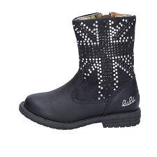 scarpe bambina LULU' 24 EU stivaletti nero pelle camoscio strass AC37-C