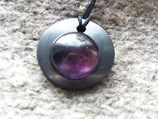 "Shungite pendant ""circle amethyst"" from Karelia magic aura stone talisman health"