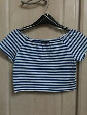 Topshop Blue And White Stripe Crop Top