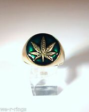 Pot Leaf Ring Polished Bronze marijuana cannabis grass  BB04/B/E