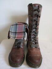 Dr Martens Triumph Massai 1914 Boots Brown Leather Plaid Lined Lace Up US 8 UK 6
