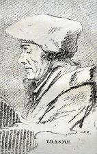 ERASME 1469 1536 Chanoine St Augustin GRAVURE PORTRAIT grav frise BLANCHON