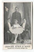 Leonard, Semon & Sonia - Vaudeville's Greatest Midget Act - old postcard