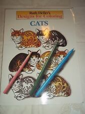Vtg. Coloring Book - Designs for Coloring Cats - 1990