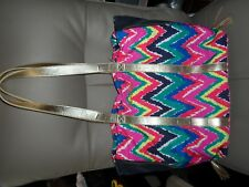 LILLY PULITZER SHOPPER TOTE MULTI HEARTS A FLUTTER Chevron pattern NWOT