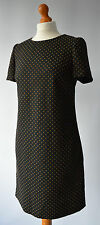 Ladies Hobbs London Black & Brown Polka Dot Wool Tunic Dress Size Uk 8