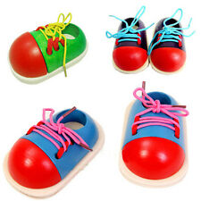 CHILDRENS WOODEN THREADING SHOE LEARN TO TIE LACES EDUCATIONAL TOY GAME  Cute @!