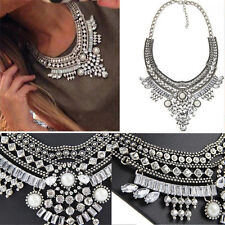 Women Pendant Chain Crystal Choker Chunky Bib Statement Necklace Vintage Jewelry