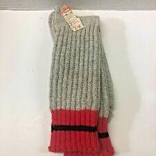 Vtg Wool blend Hunting Socks Sz 10-13 Gray Red Top Knee Length