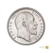 More details for 1907 king edward vii india one rupee silver coin - collectors coin