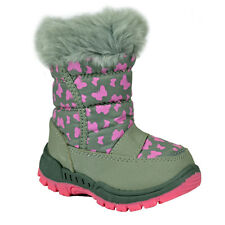 KIDS GIRLS WINTER SNOW MOON MUCKER WATERPROOF WELLINGTON BOOTS SHOE PINK FUR