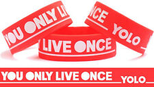 You Only Live Once YOLO RED Wristband Music Lyrics Online Wrist Band Bracelet