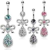 Surgical Steel Belly Bar / Navel Ring with Ribbon and Water Drop - Choose Colour