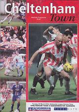 Football Programme>CHELTENHAM TOWN v KIDDERMINSTER HARRIERS Mar 2002