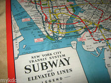1948 New York City SUBWAY Train MAP Oversize Print REPRO of vtg NYC Transit RR