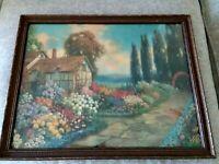 Vintage Rare R. Atkinson Fox Signed Chromolithograph Print Cottage Garden Floral