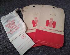 Three VIntage INTERNATIONAL HARVESTER PARTS SACKS BAGS....L@@K!