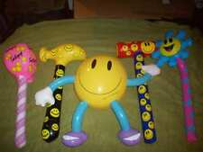 Lot of 5 Smiley Face Inflatables, Hammers, Lollipop, Flower, Character Figure