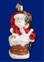 SANTA CLAUS IN CHIMNEY W/ SACK OLD WORLD CHRISTMAS GLASS ORNAMENT NWT 40011