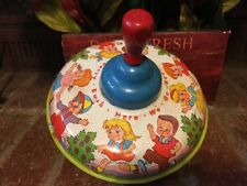 BAM!!Vintage Ohio Art Co. Metal Spinning Toy Top Wood Handle ...Mulberry Bush...