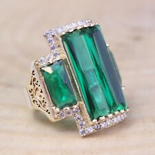 Emerald Ladies Ring Size 6-12 925 Sterling Silver Handmade Authentic Turkish
