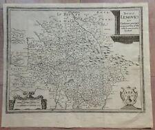 FRANCE LIMOUSIN 1661 MATTHAEUS MERIAN 17e CENTURY LARGE UNUSUAL ENGRAVED MAP