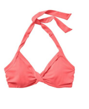 NWT Athleta Bra Cup Halter Bikini Top Coral Flash Underwire Twist Size 40B/C