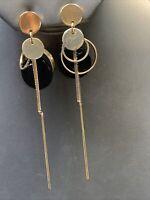 """Elegant black gold Tone long dangle chain Pierced Earrings 4"""" Long"""