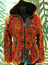 BÄRES Nepal Jacke L/XL Baumwolle Zipfelkapuze bestickt  Fleecfutter Hippie Goa