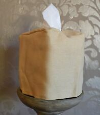 Mike & Ally Sahara Tan Linen Fabric Boutique Tissue Box Cover