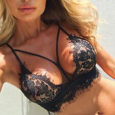 Women Sleeveless Sexy Lace Vest Bra Set Lingerie Underwear M-XXL Bra_GG M Black